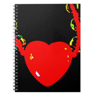 Red Heart Necklace Spiral Notebook