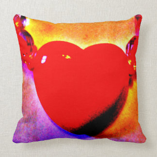 Red Heart Necklace Throw Pillow