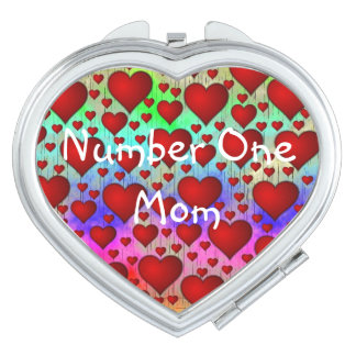 Red  heart no1 mom makeup mirror
