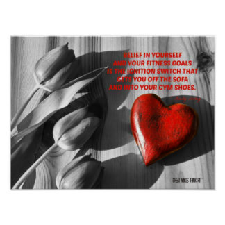 Red Heart of Fitness Motivation Quote 1 Poster