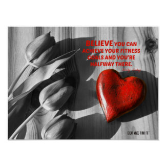Red Heart of Fitness Motivation Quote 3 Posters