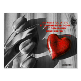 Red Heart of Fitness Motivation Quote 5 Posters
