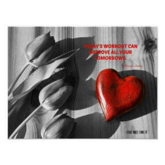 Red Heart of Fitness Motivation Quote 7 Poster