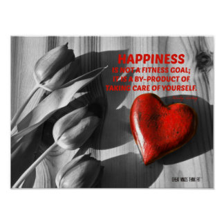 Red Heart of Fitness Motivation Quote 8 Poster