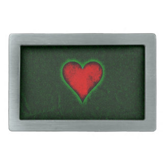 Red heart on a green grunge background rectangular belt buckles
