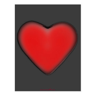 Red Heart on Grey Postcard