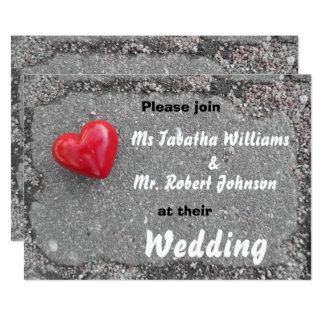Red Heart on Pavement Design Wedding Invitation