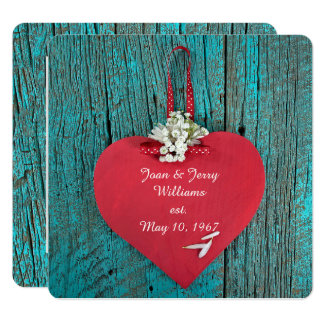 red heart on turquoise wood vow renewal card