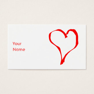 Red Heart on White. Business Card
