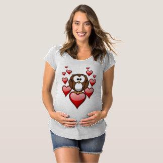 Red Heart Owl Maternity T-Shirt