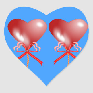 Red Heart Party Balloons Sticker