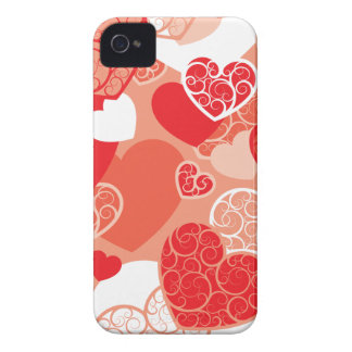 Red Heart pattern iPhone 4 Case-Mate Cases