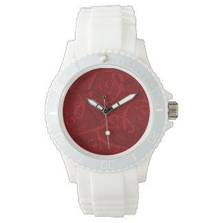 Red heart pattern watch