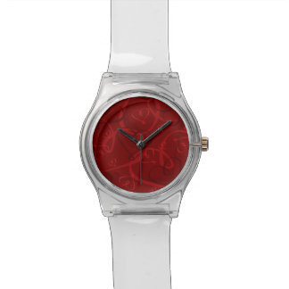 Red heart pattern wristwatches