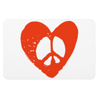 Red Heart Peace Sign Magnet