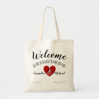 Red Heart Personalized Wedding Gift Bag