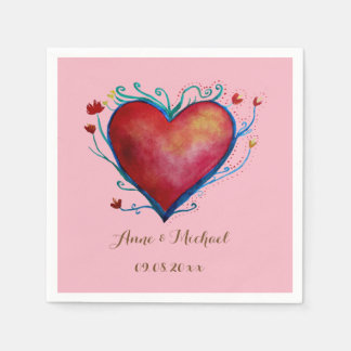 Red  Heart Personalized Wedding  Napkins Paper Napkin