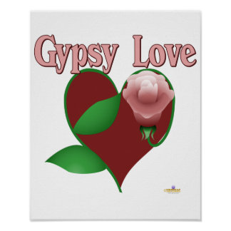 Red Heart Pink Rose Gypsy Love Poster