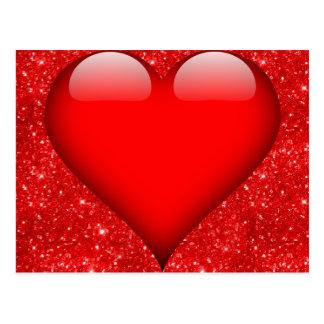Red Heart, Red Glitter Valentine Postcard