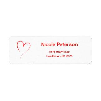 Red Heart Return Address Label