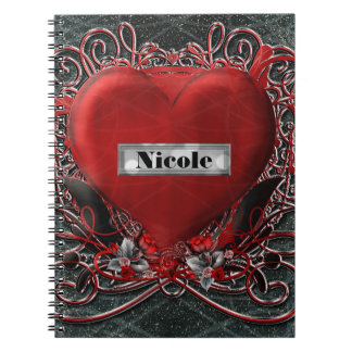 Red Heart & Roses Gothic Glam Personalized Custom Notebook