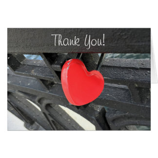 Red Heart Shaped Lock Photo Thank You Card