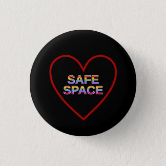 Red Heart-Shaped Outline & SAFE SPACE 1 Inch Round Button