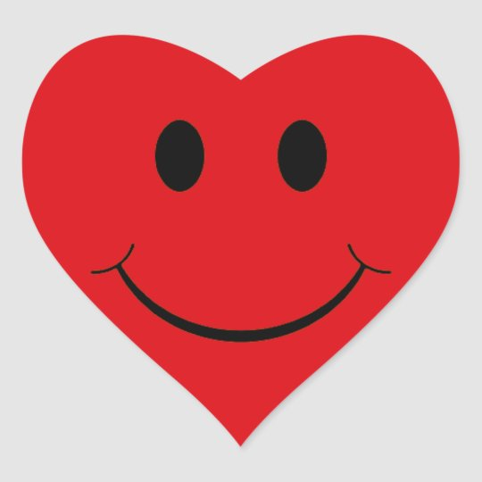 Red Heart Smiley Face Stickers   Zazzle.ca