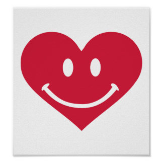 Red heart smiley happy print