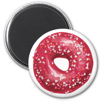 Red Heart Sprinkles Doughnut. 2 Inch Round Magnet