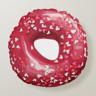 Red Heart Sprinkles Doughnuts. Round Pillow