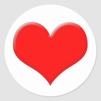 Red heart classic round sticker
