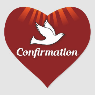 Red, Heart Sticker, Confirmation, Dove, Rays Heart Sticker