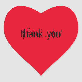"""Red heart - stickers with the saying """"thank you """""""