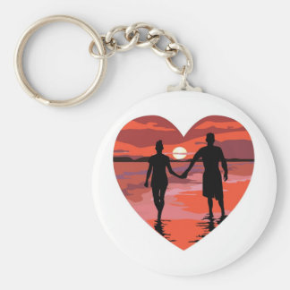 Red Heart Sunset Beach Holding Hands Basic Round Button Keychain