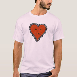 Red Heart Surrounded by Black Lace w/ couple text T-Shirt