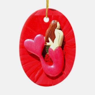 red heart-tailed mermaid beauty ceramic ornament