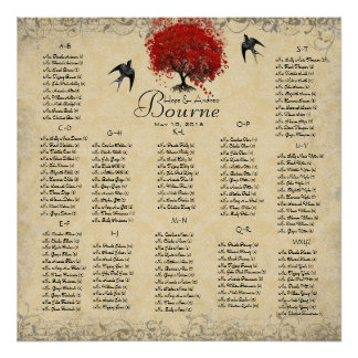 Red Heart Tree- 100 to 150 guests - alphabetical Posters