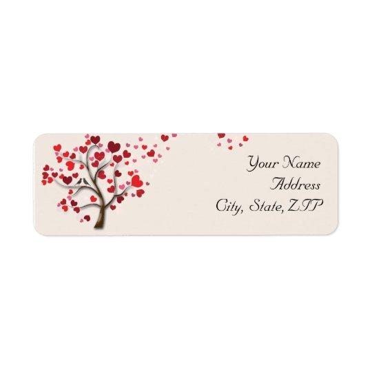 Red Heart Tree on Ivory Return Address
