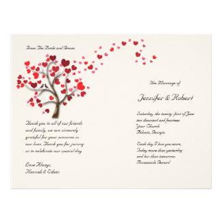 Red Heart Tree on Ivory Wedding Program