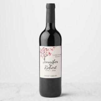 Red Heart Tree on Ivory Wedding Wine Label