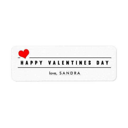 Red Heart Valentine's Day Label