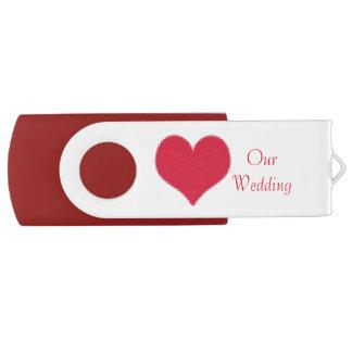 Red Heart Wedding USB Drive Swivel USB 2.0 Flash Drive