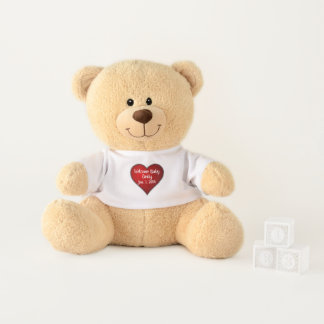 Red Heart Welcome Baby Name and Birthday Keepsake Teddy Bear