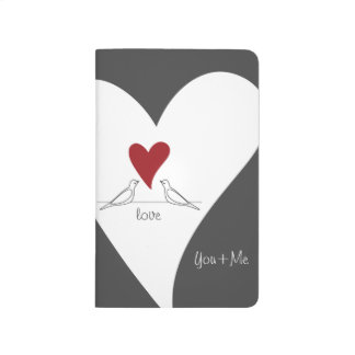 Red Heart White Doves In Love Modern Personalized Journal