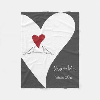 Red Heart White Doves in Love Rustic Modern Fleece Blanket