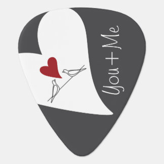 Red Heart White Doves in Love Rustic Modern Guitar Pick