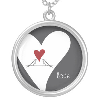 Red Heart White Doves in Love Rustic Modern Silver Plated Necklace