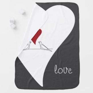 Red Heart White Doves in Love Rustic Modern Stroller Blanket