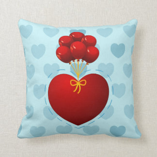 Red heart with balloons, pillow